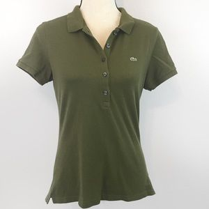 Lacoste Army Green Five Button Polo Shirt